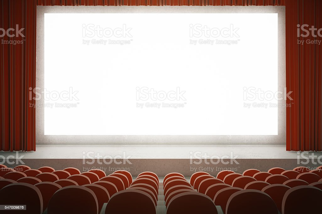 Red cinema with blank screen stock photo
