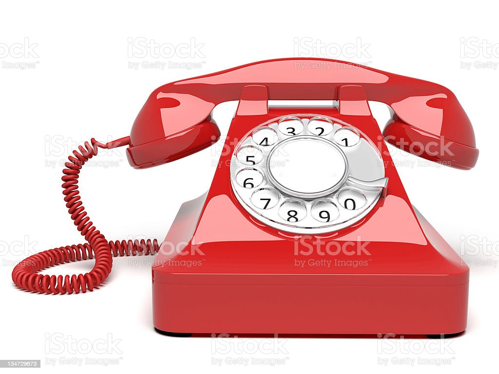 Red circle dial telephone on white background stock photo