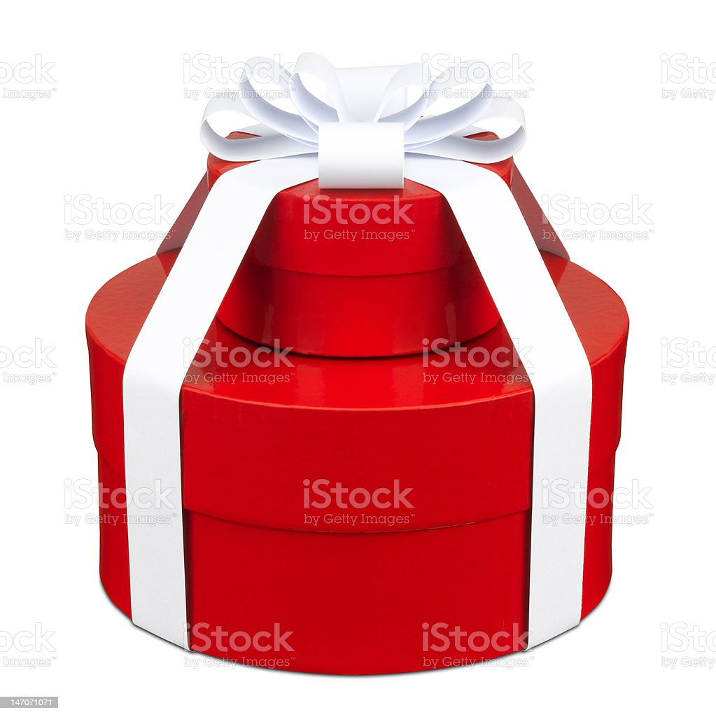 Red circle gift boxes stock photo