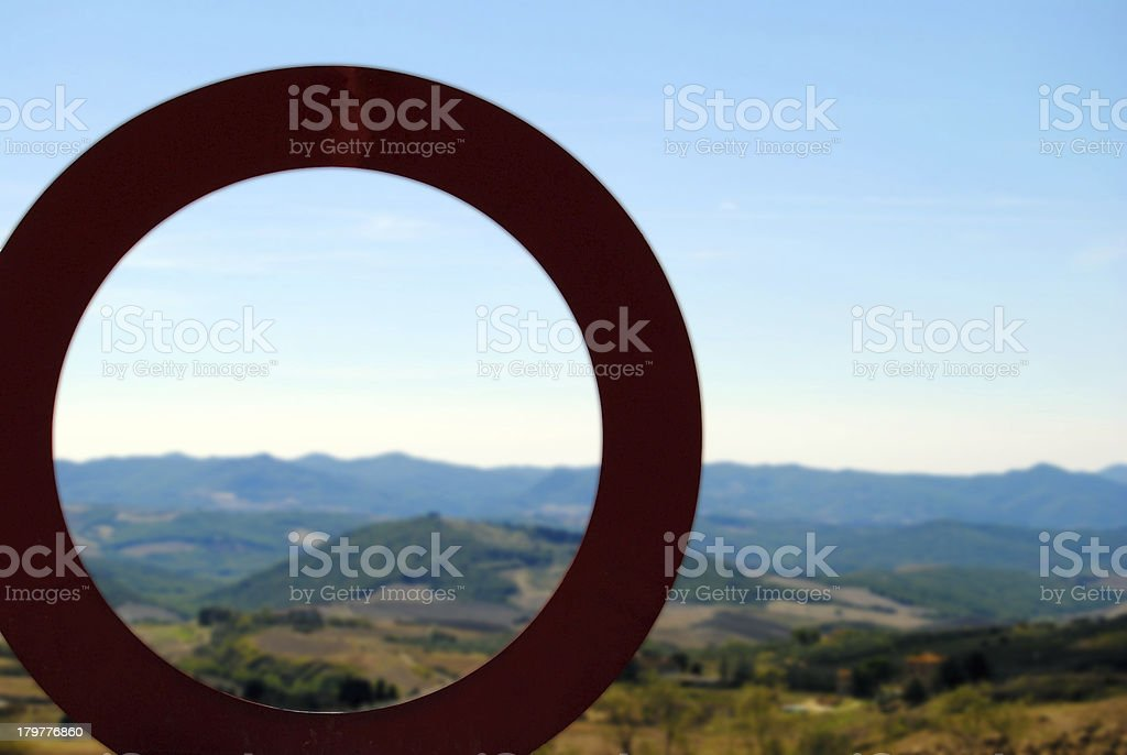 Red circle in Tuscany stock photo