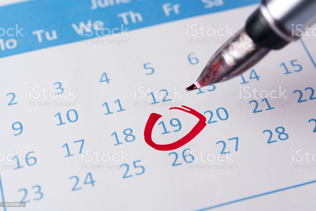 Red circle on calendar stock photo