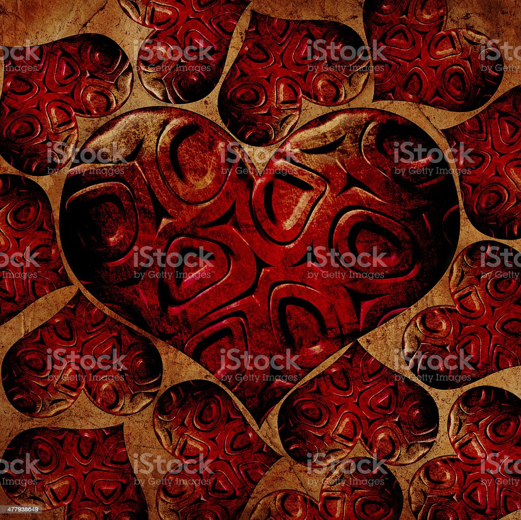 red circles in heart grunge background royalty-free stock photo