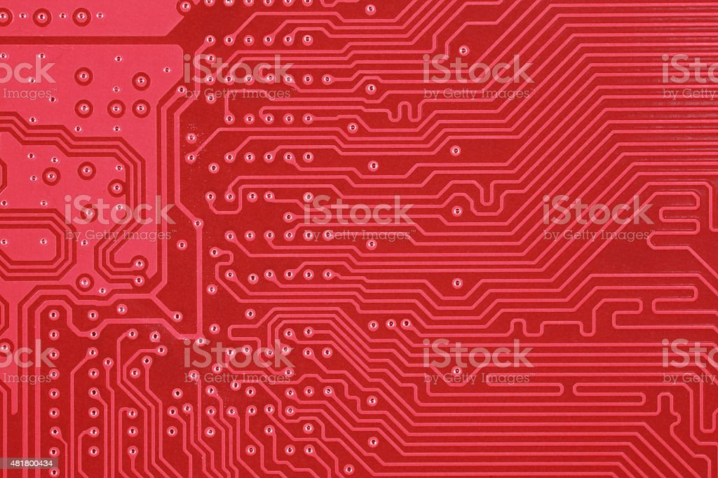 Red circuit board texture background of computer motherboard stock photo