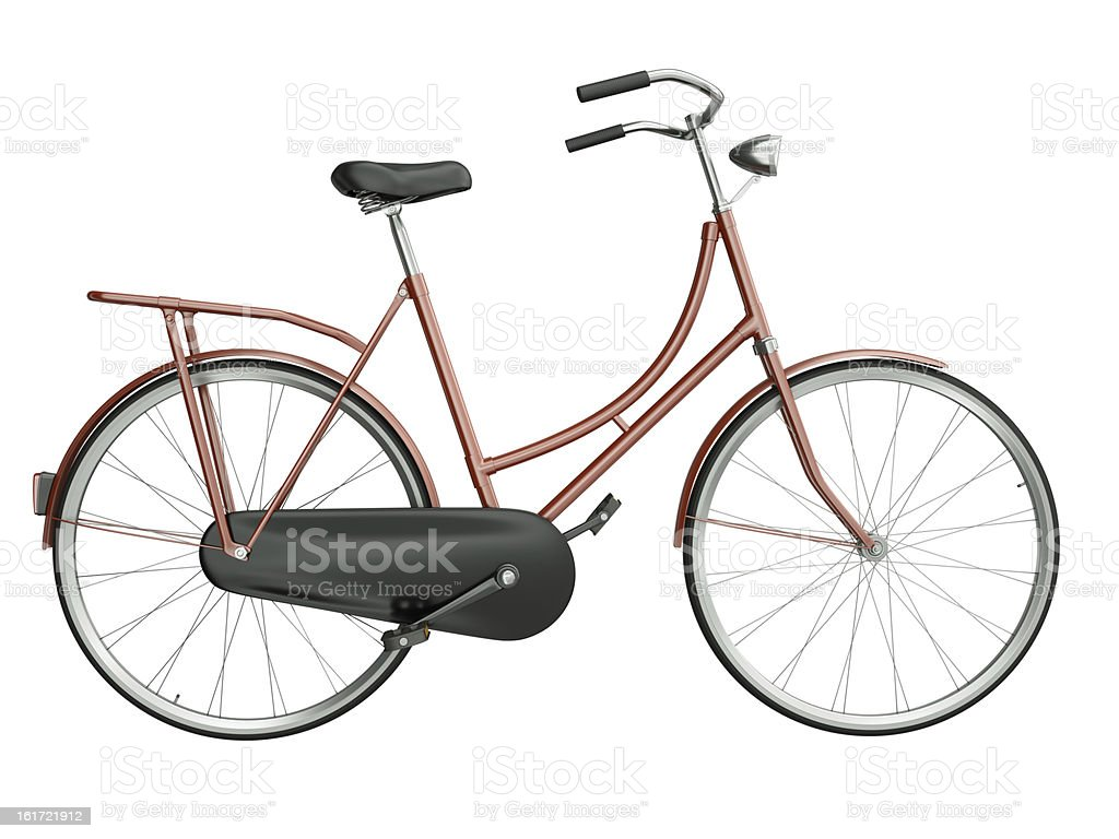 Red city bicycle on a white background stock photo