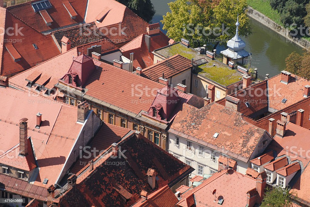 Red city roofs royalty-free stock photo