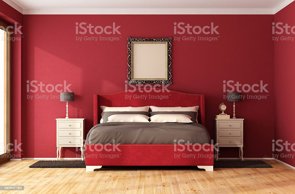 Red Classic Bedroom stock photo