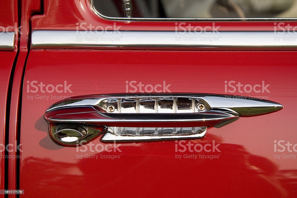 Red classic car door handle royalty-free stock photo