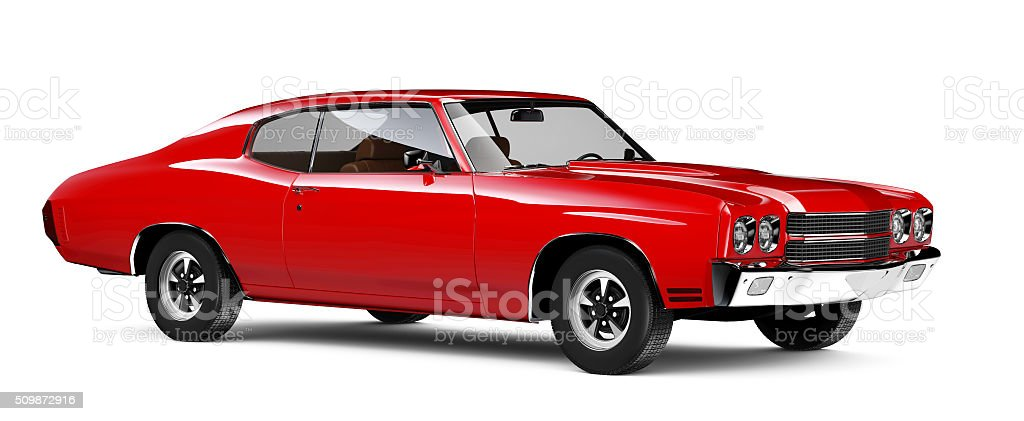 Red classic car stock photo