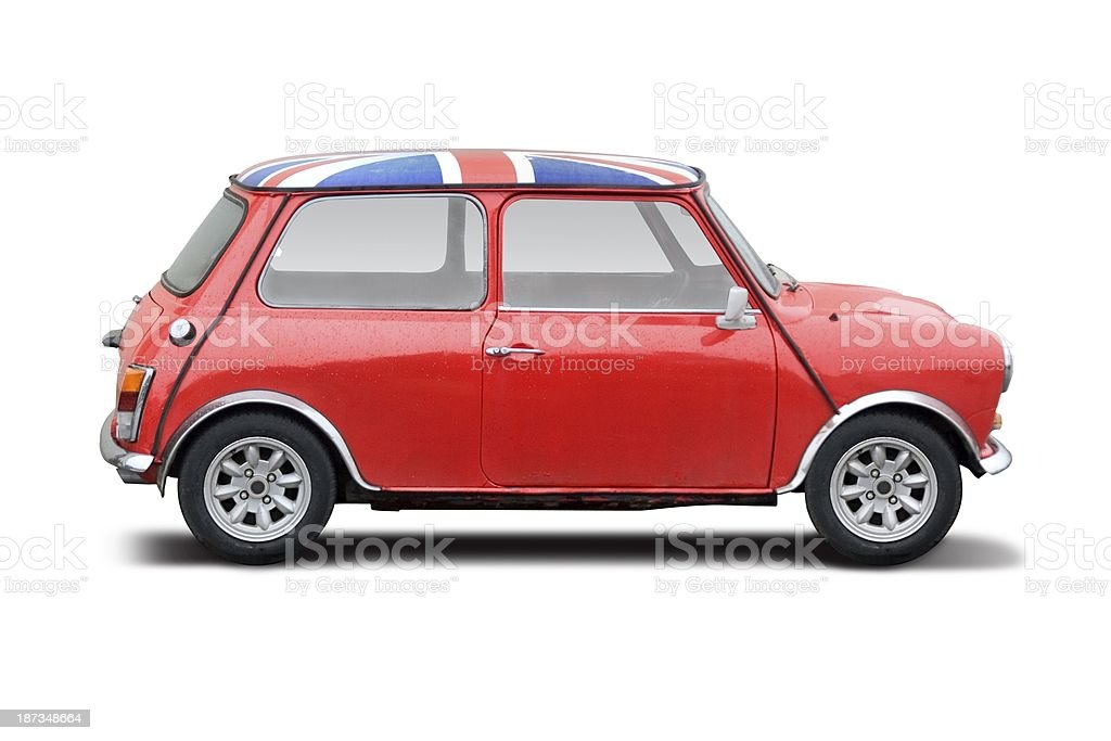 A red classic car with United Kingdom flag on hood stock photo