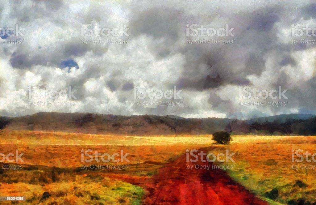 Red clay road and tree painting stock photo