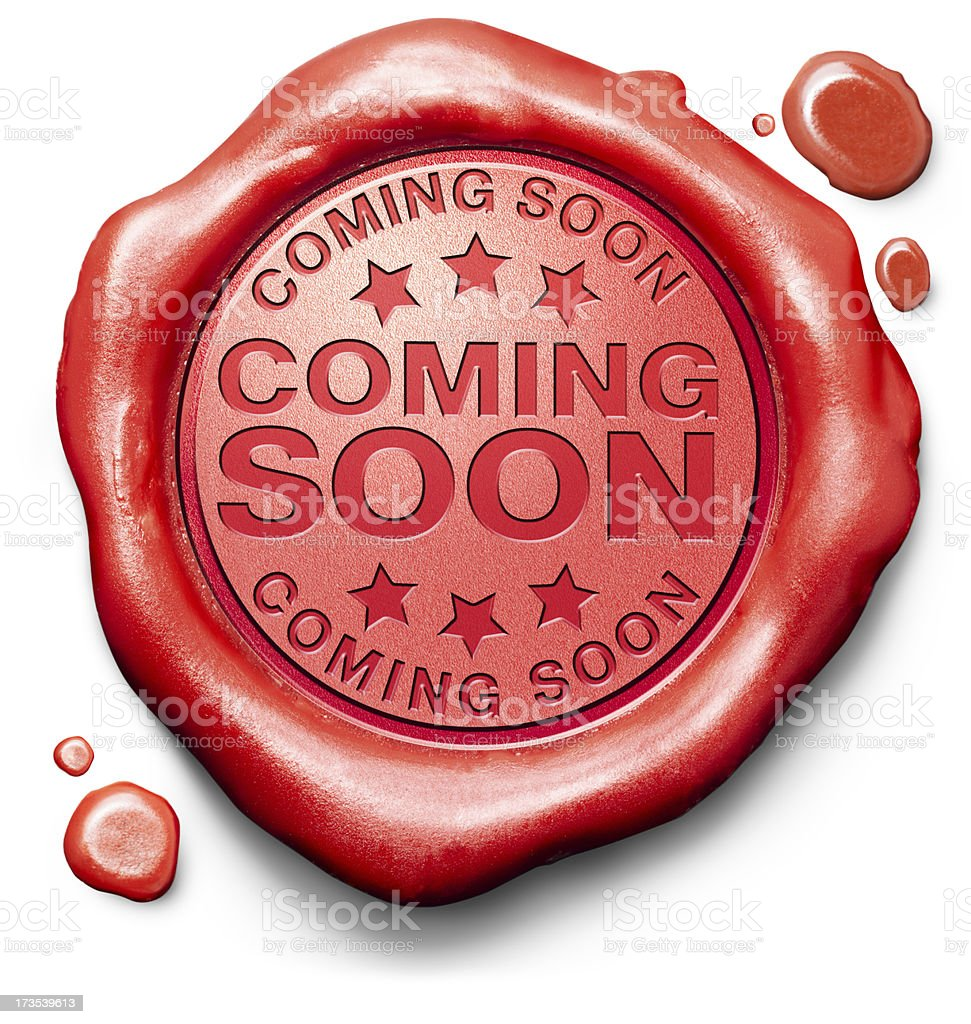 Red clay with imprint coming soon  stock photo