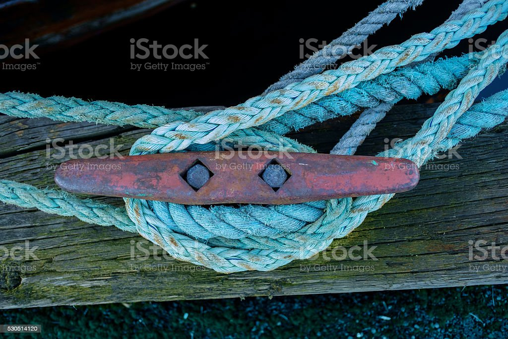 Red cleat and blue lines stock photo