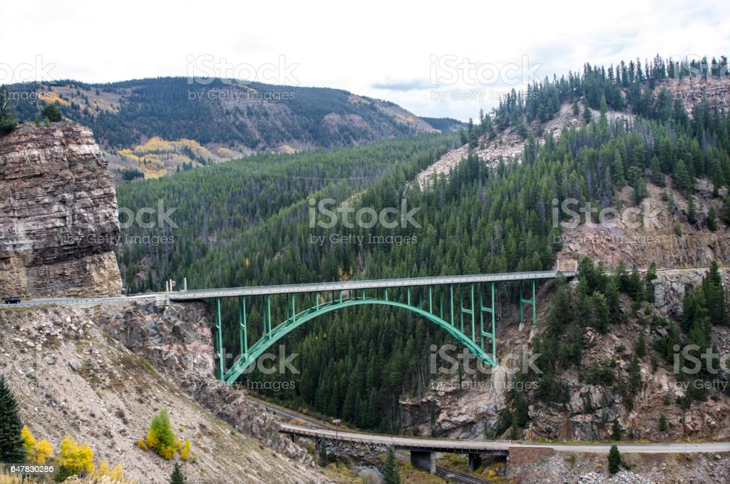 Red Cliff Bridge in the Colorado Rocky Mountains stock photo