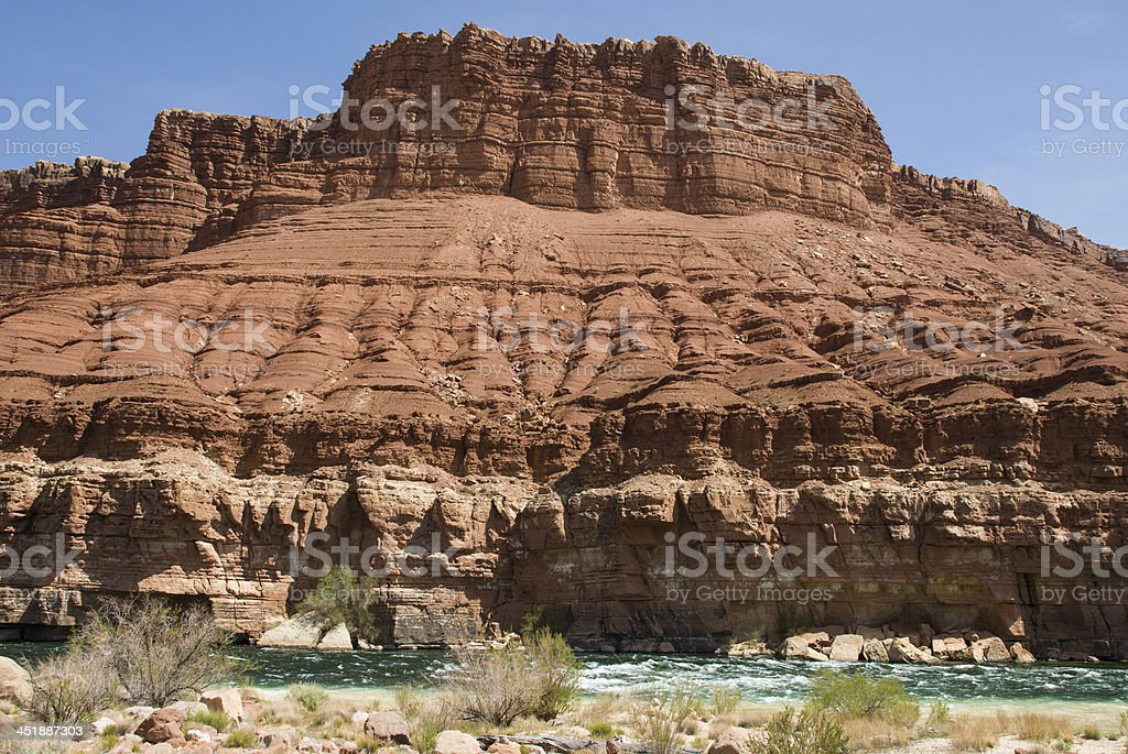Red Cliffs and Colorado River Rapids at Lees Ferry Arizona stock photo