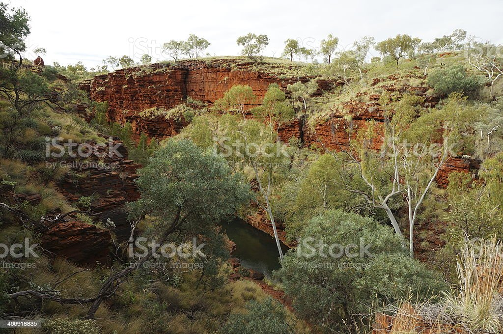 Red cliffs in Karijini National Park stock photo