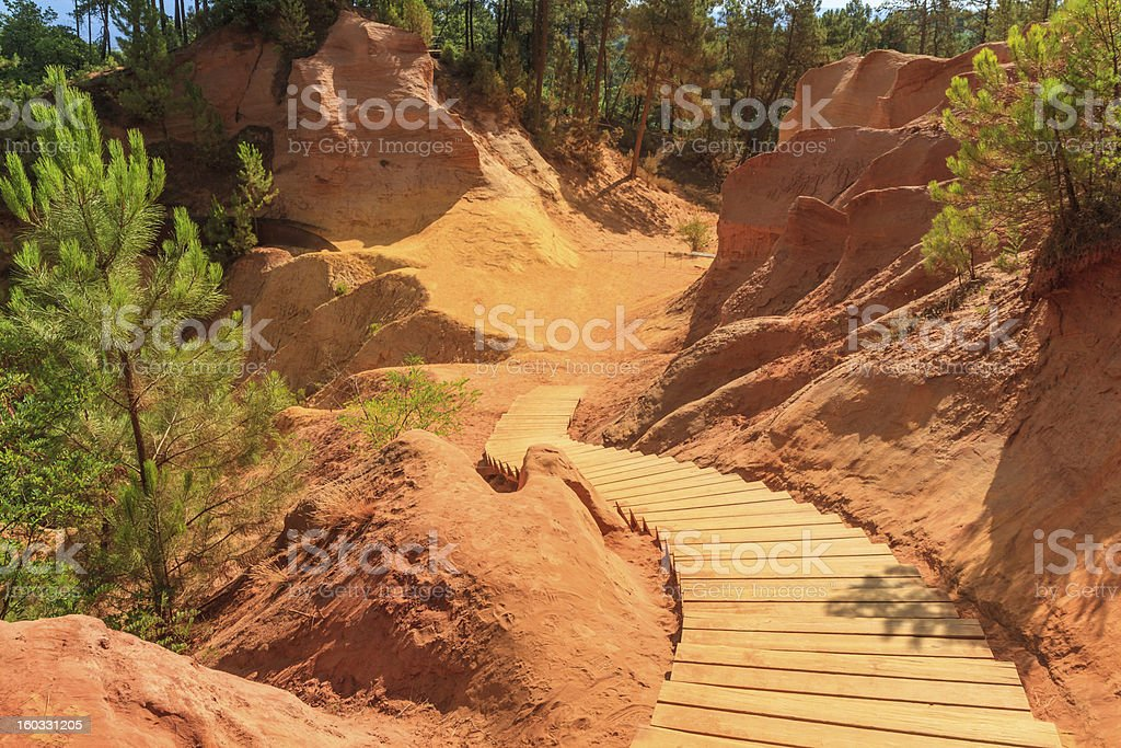 Red Cliffs in Roussillon (Les Ocres), Provence, France stock photo