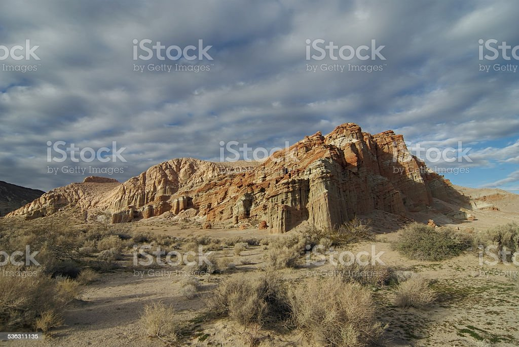 Red Cliffs Scenery in the Mojave Desert in California stock photo