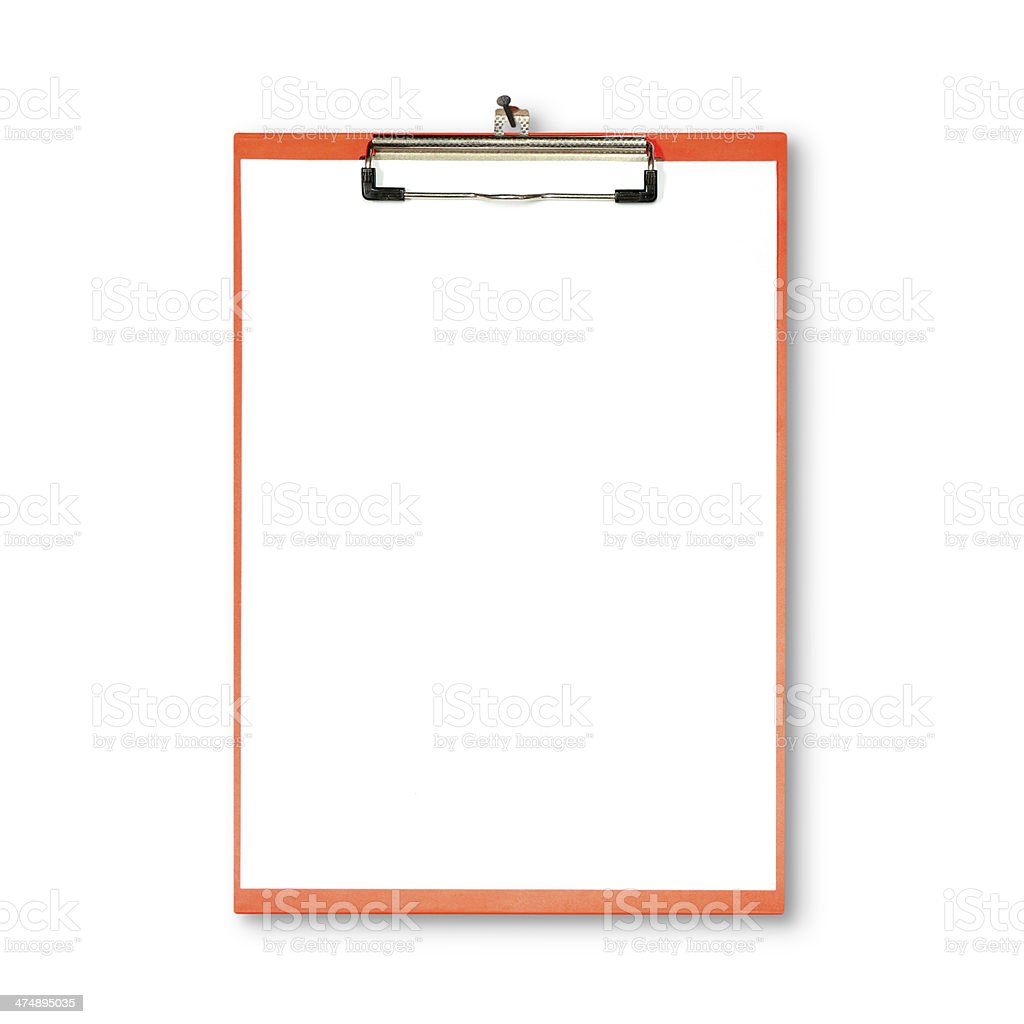 red clipboard hanging on white wall royalty-free stock photo
