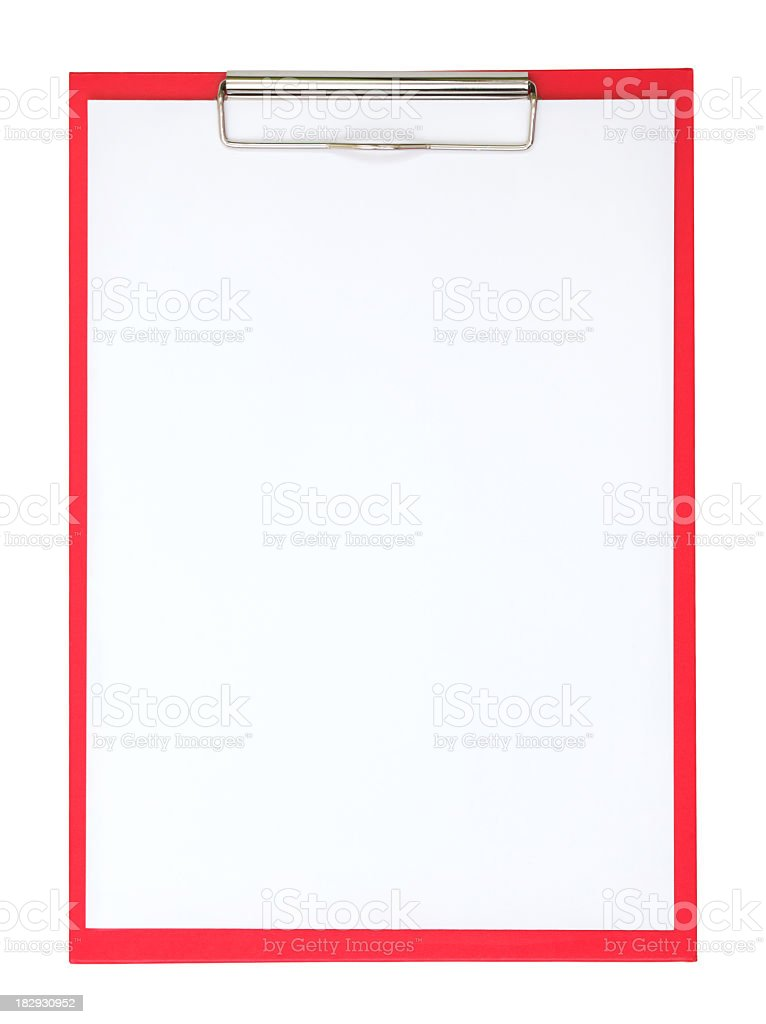 A red clipboard with a plain white piece of paper on it royalty-free stock photo