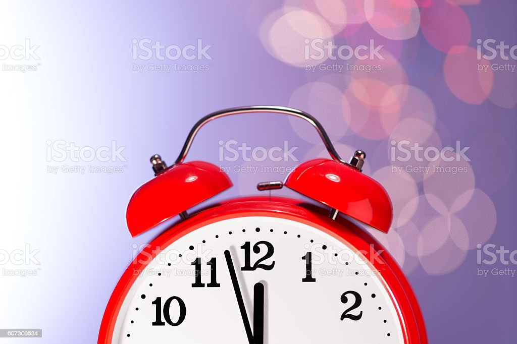 Red Clock and Bokeh Lights stock photo