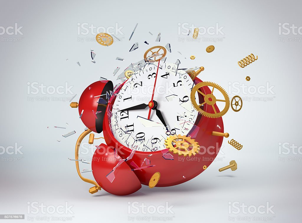 Red clock broken stock photo