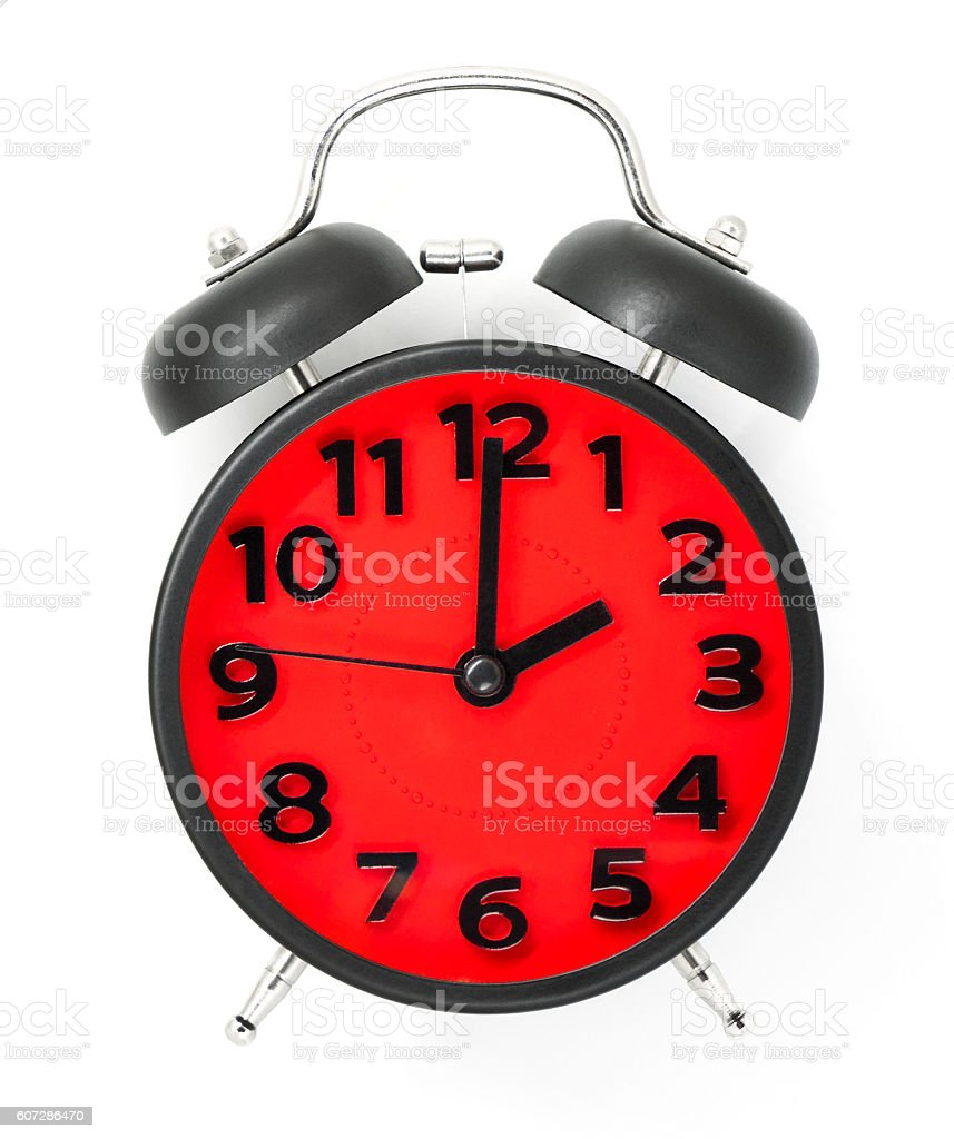 Red Clock face with black frame pointing at 2 stock photo
