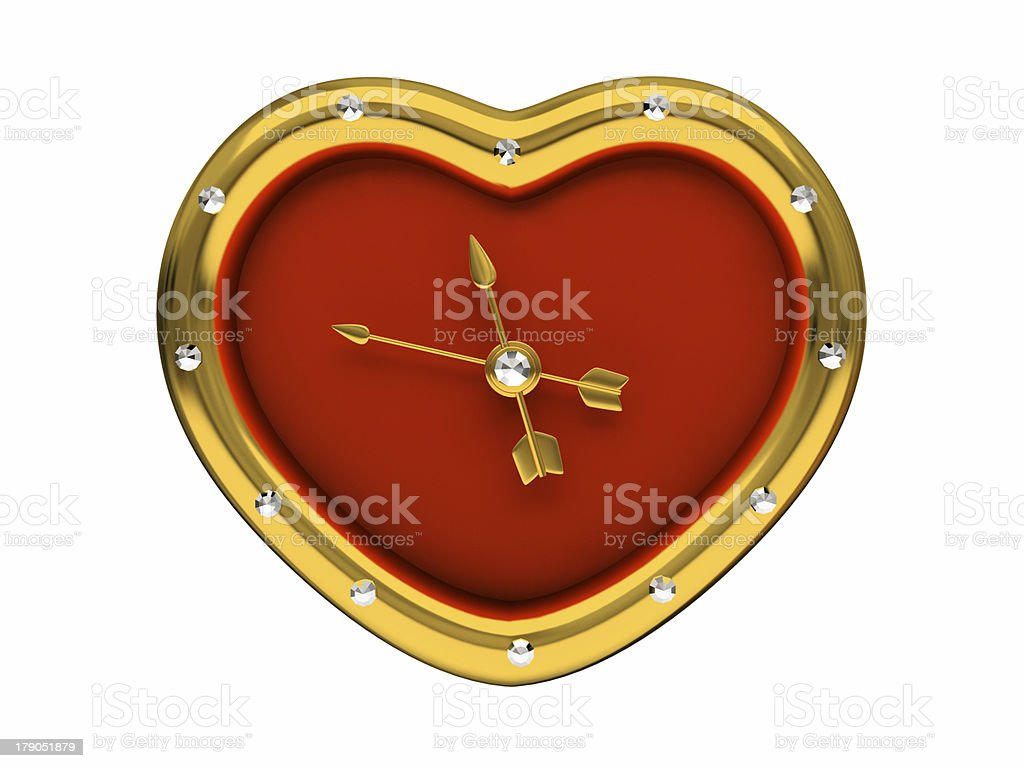 Red Clock-Heart isolated on white background 3D royalty-free stock photo