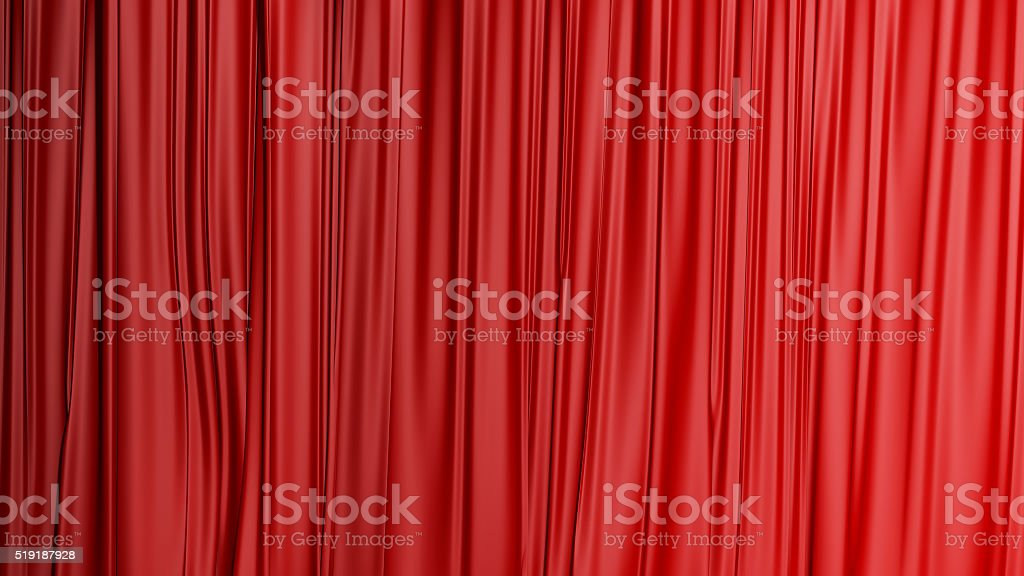 Red closed curtain background in a theater stock photo