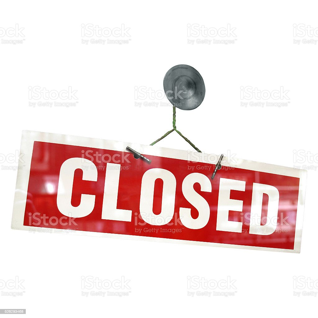 Red closed sign stock photo