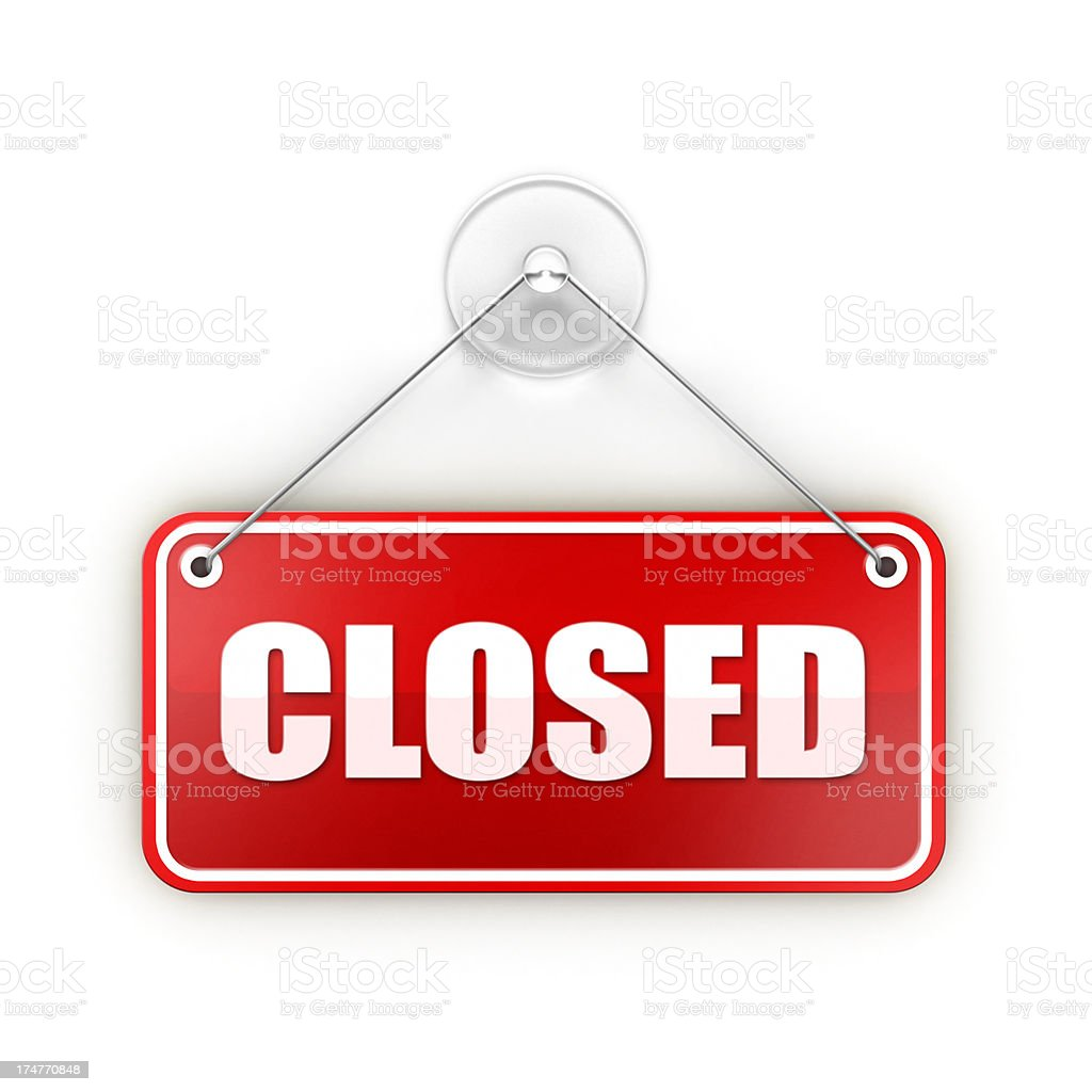 red closed Sticky sign stock photo