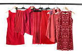 Red clothes on clothes rack
