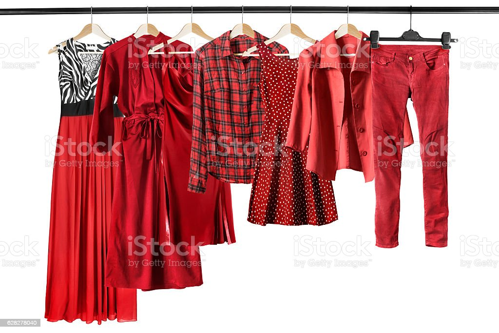 Red clothes on clothes racks stock photo