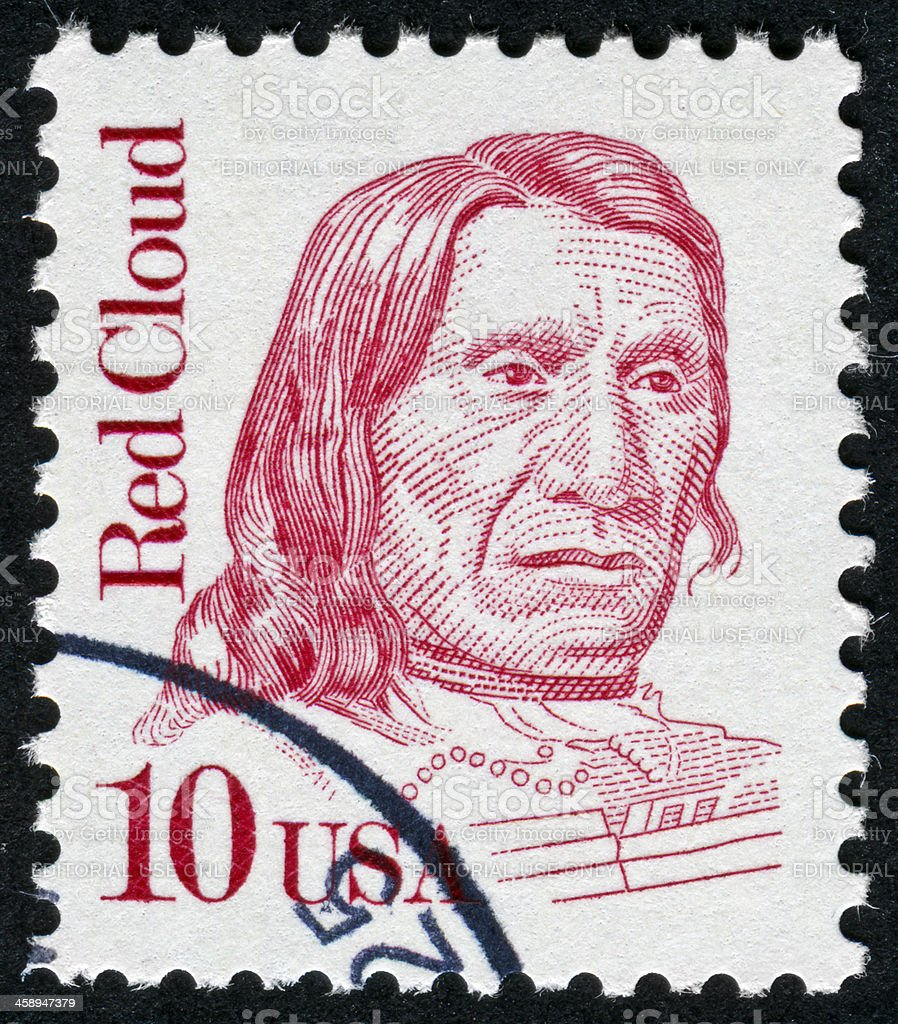 Red Cloud Stamp stock photo