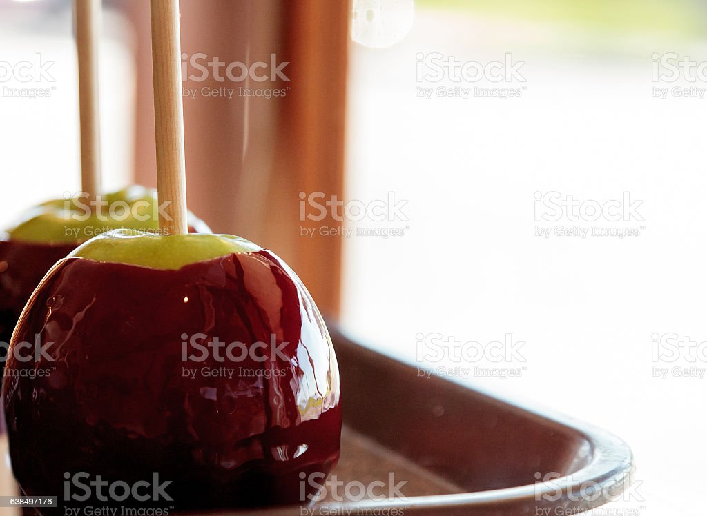 Red coated candy apples stock photo