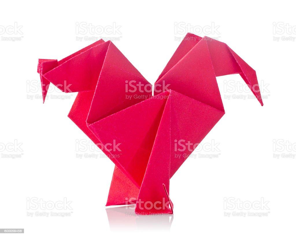 Red cock oforigami stock photo