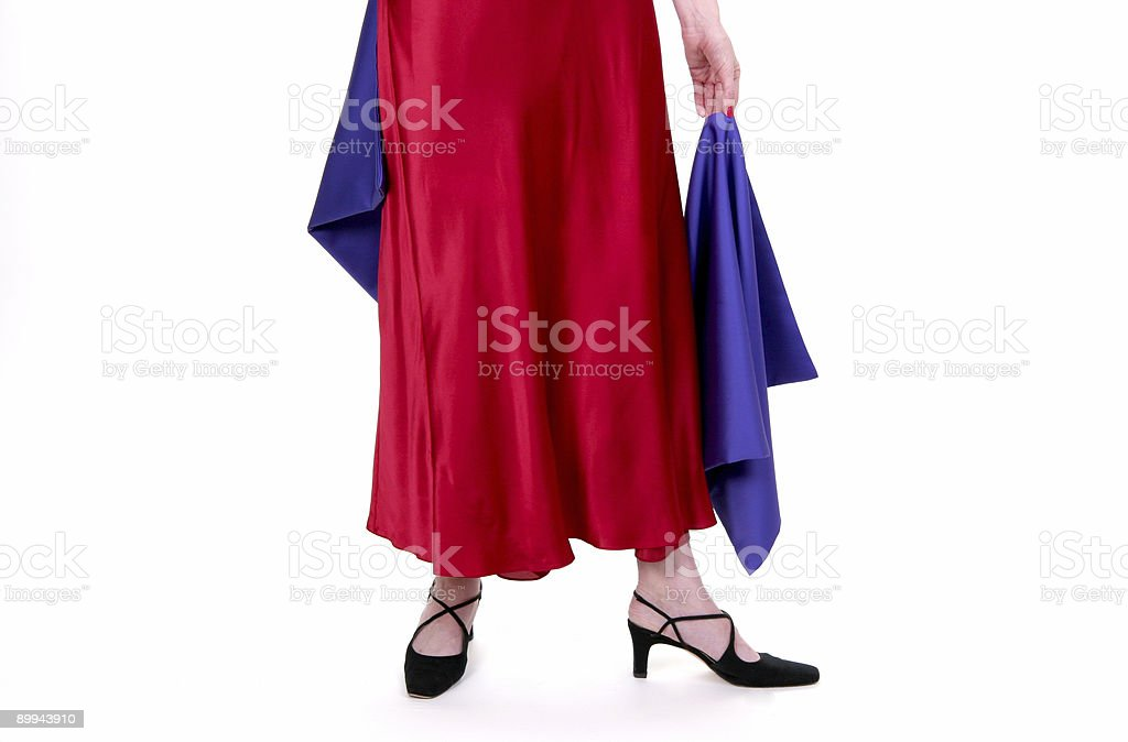 Red cocktail dress. stock photo