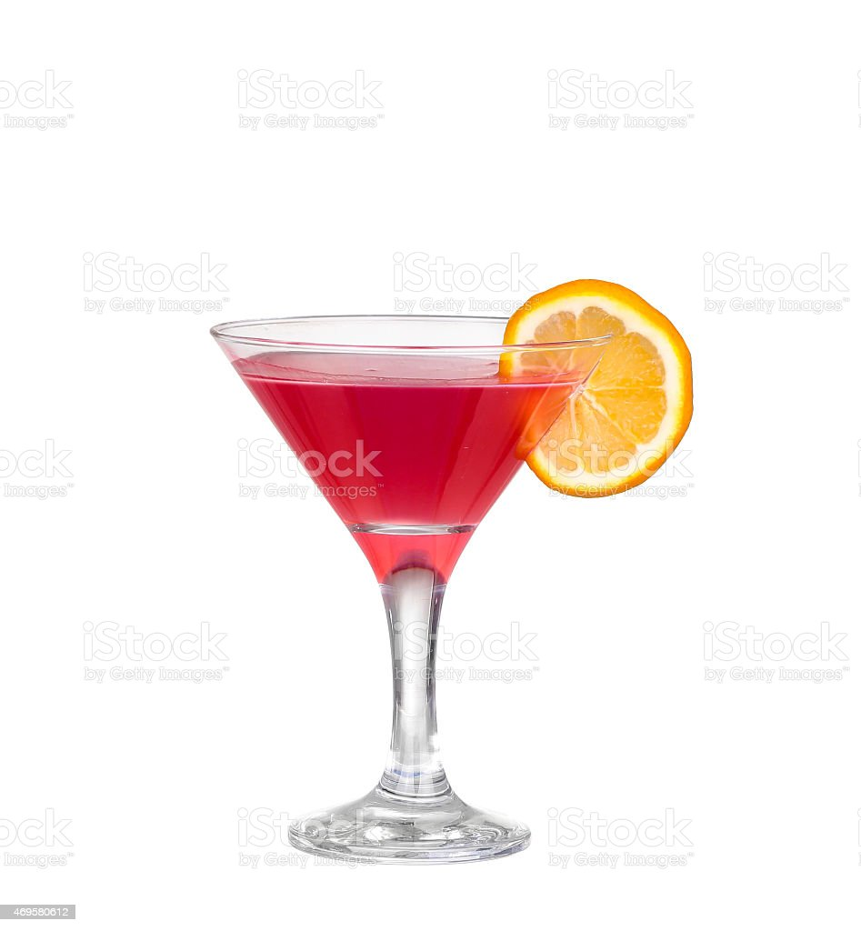 Red cocktail with  isolated on white stock photo
