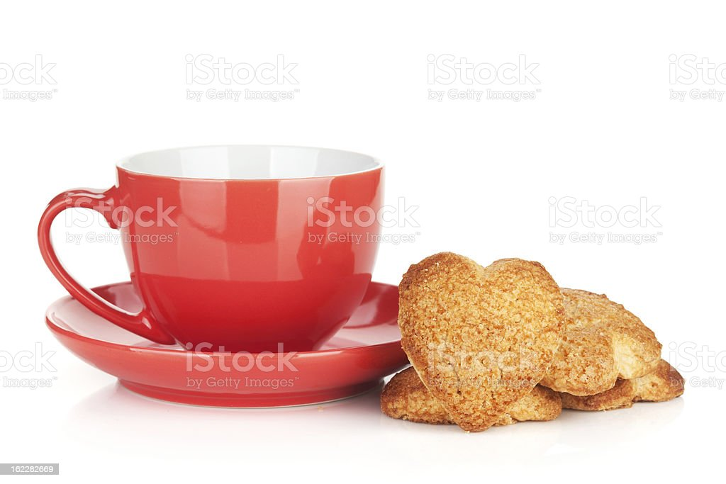 Red coffee cup and heart shaped cookies royalty-free stock photo