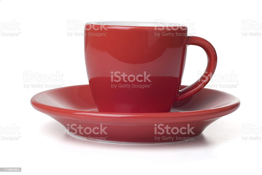 Red Coffee Cup and Saucer royalty-free stock photo
