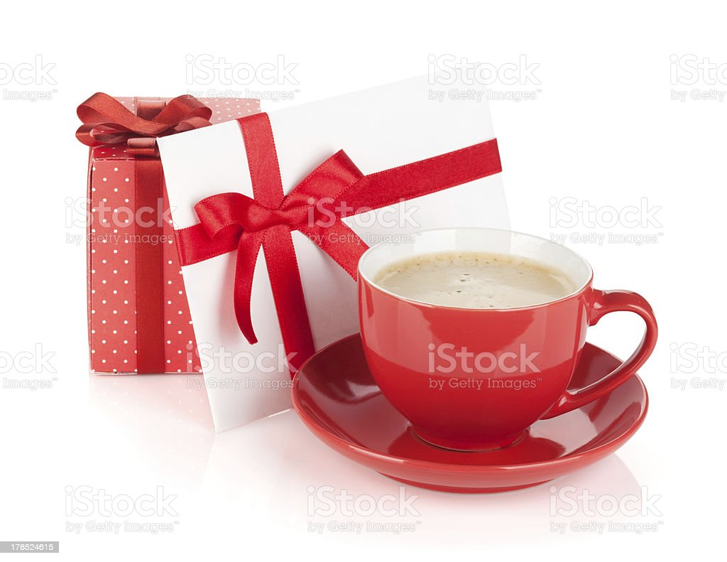 Red coffee cup, gift box and love letter with bow royalty-free stock photo