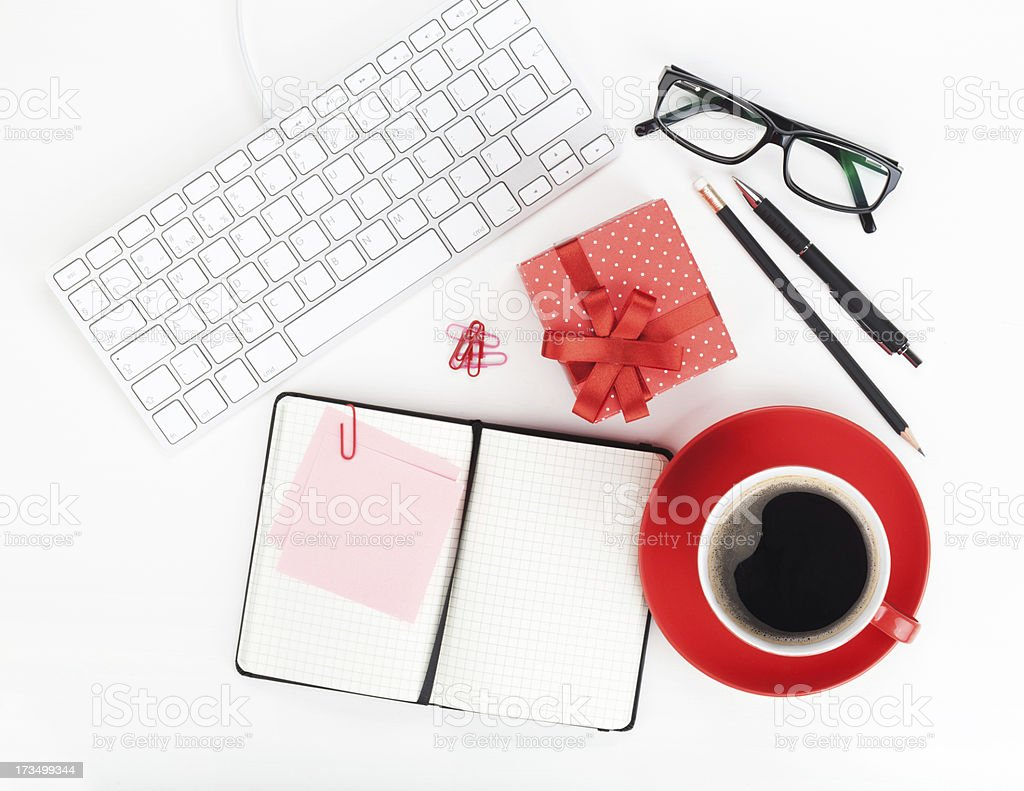 Red coffee cup, gift box and office supplies royalty-free stock photo
