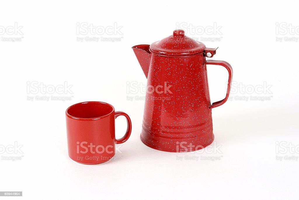 Red coffee pot and mug royalty-free stock photo