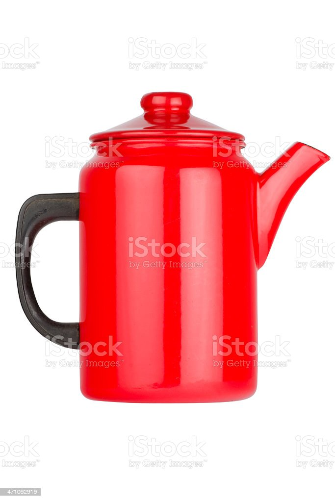 Red coffee pot stock photo
