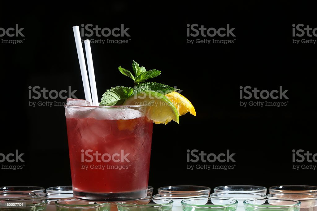 Red cold cocktail stock photo