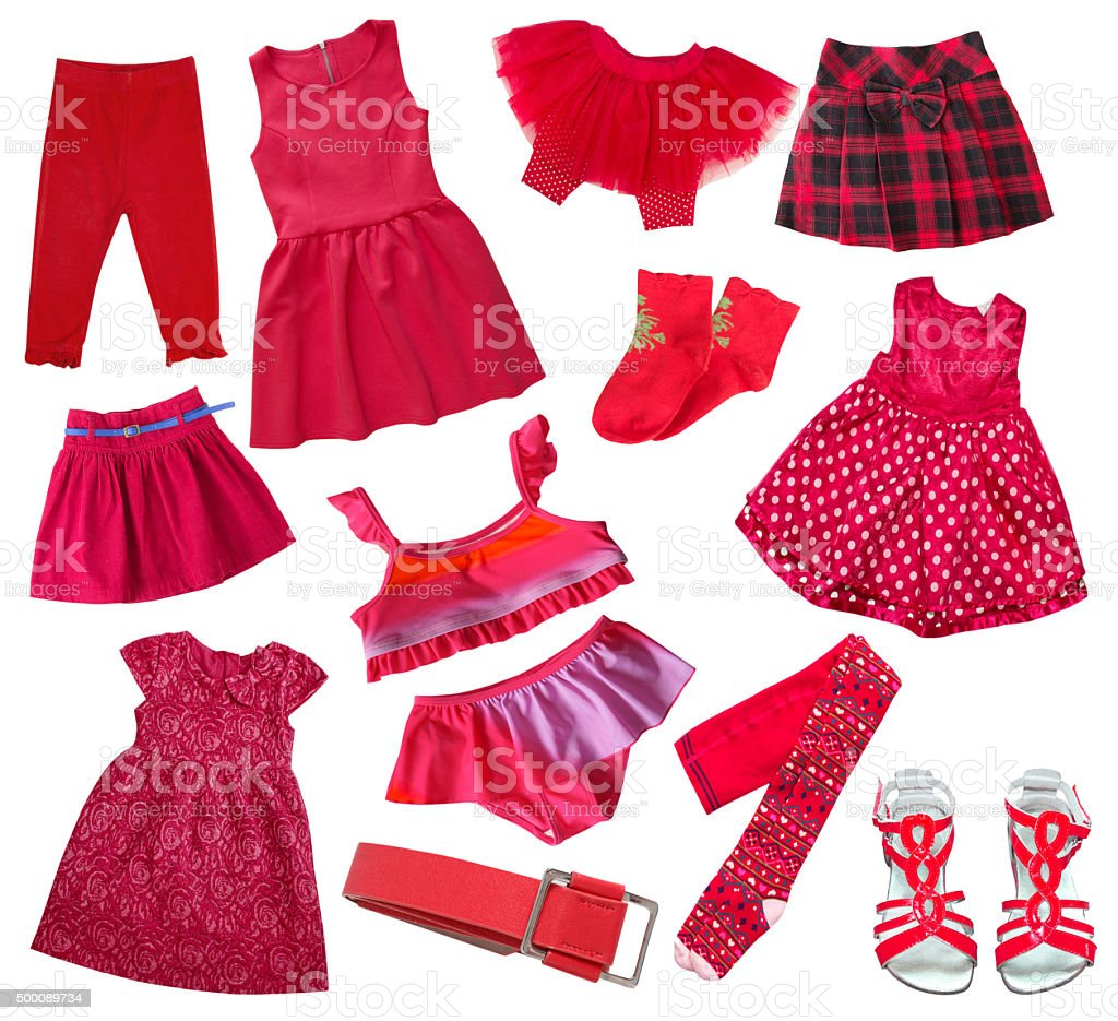 Red collection of child girl's clothes isolated on wgite.Collage. stock photo