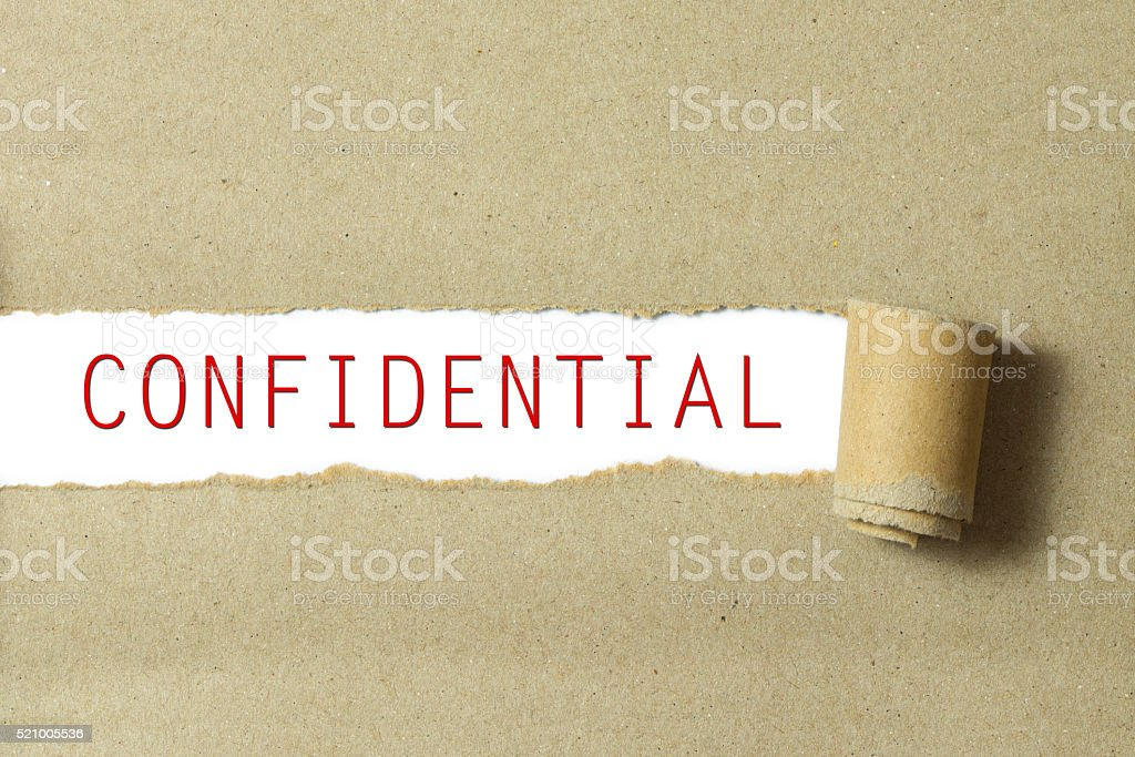Red color confidential word stock photo
