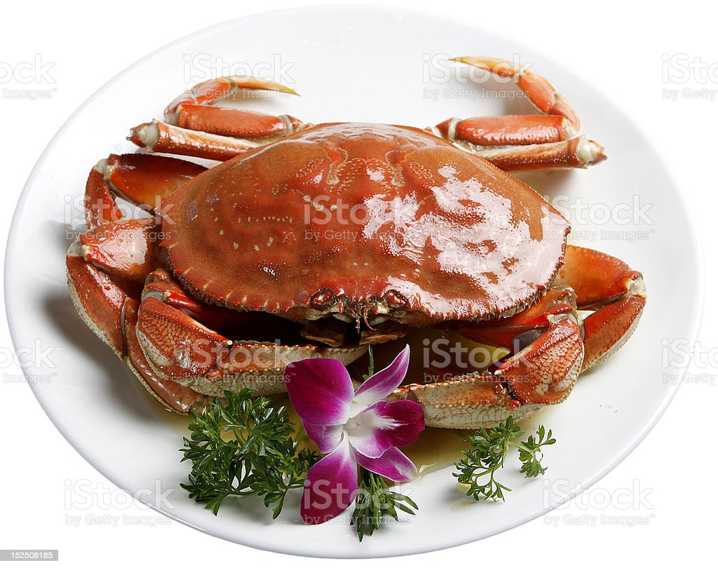 red color cooked crab stock photo