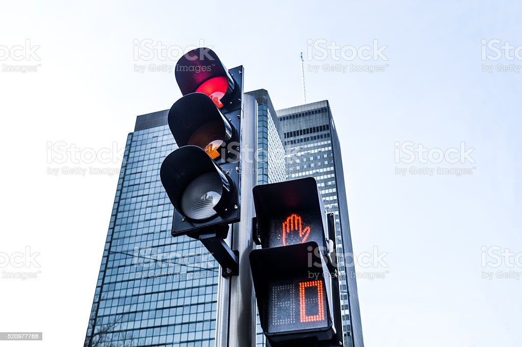 Red color on the traffic light i stock photo