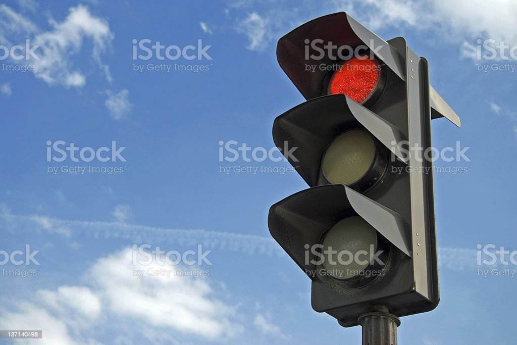 Red color on the traffic light royalty-free stock photo
