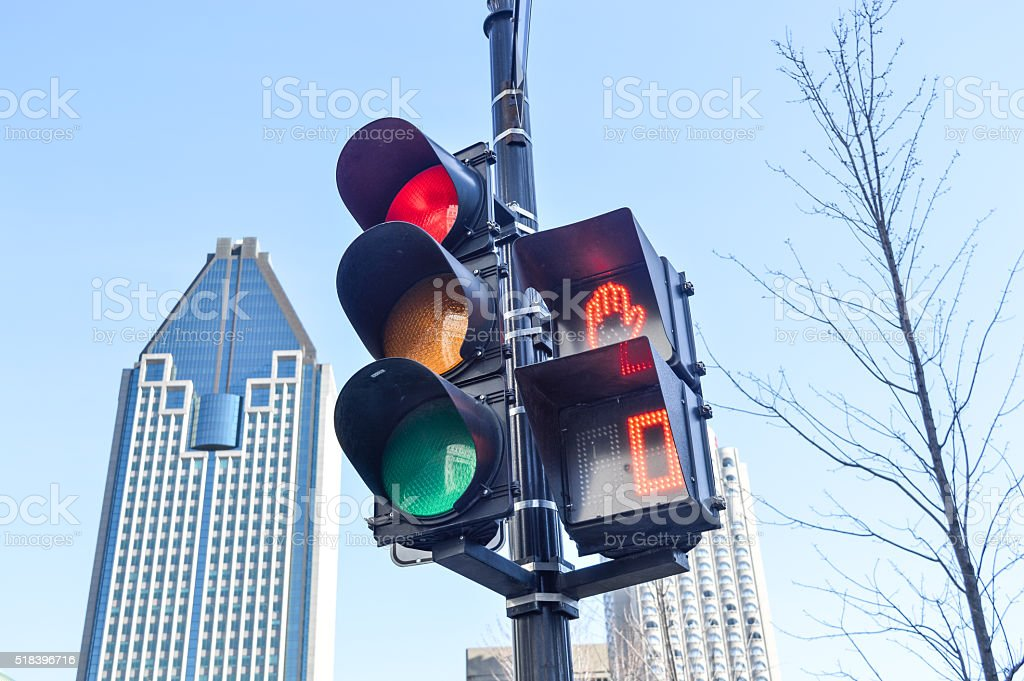 Red color on the traffic light stock photo